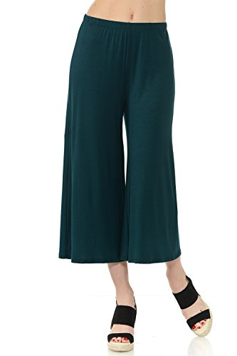 iconic luxe Women's Elastic Waist Jersey Culottes Pants Large Hunter Green