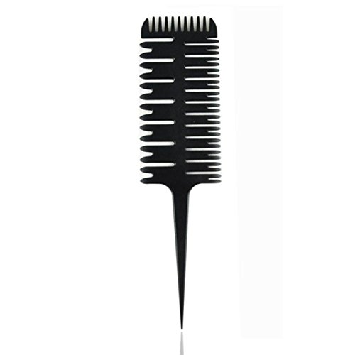sh Salon Fish Bone Barber Haircut Coloring Combs Big Tooth Styling DIY Tool Combo Pocket Long Round Handle Holder Good-looking Popular Beard Natural Grooming Women Travel Kit ()