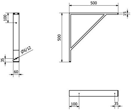 Equerre Table Murale Equerre Metal Equerre Etagere Support /Équerre de Fixation Lot de 2 /Équerre /Étag/ère 500mm, Noir
