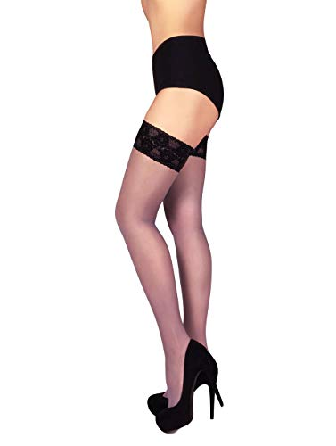 THIGH HIGH Sheer Lace Top Silicone Stockings Nylon Hosiery 20 Den S - XL (S, Grigio - Nero)