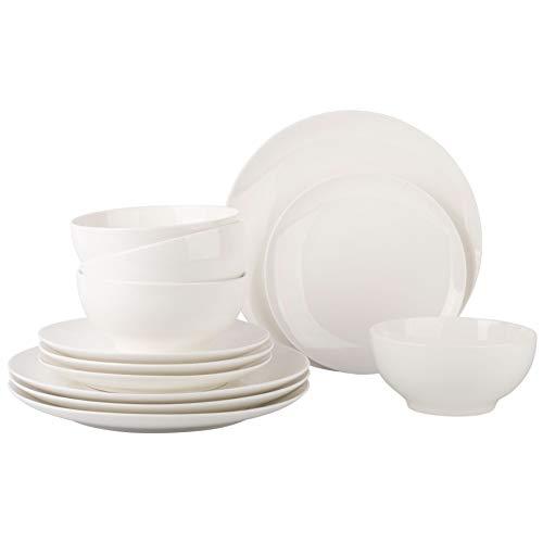 Dinnerware Set – Set for 4 Dinnerware 12 pcs Set Dish –Durable Porcelain White Dinnerware Set, Plates and Bowls…