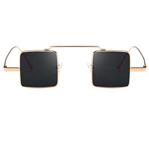 Moda Plástico dorado Marco UV400 de marco de Lente Sol gris para Cuadrados Resina gris marco Lente dorado Gafa Hombre Vidrios Protección Magideal Mujer w58qB0xv6v