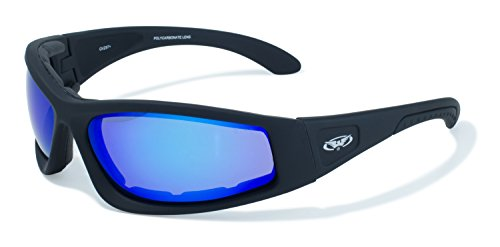 Global Vision Eyewear Triumphant Safety Sunglasses with Black Frames and G-Tech Blue - Sunglasses Blue Tech