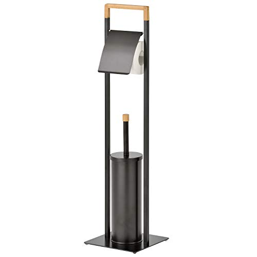 MyGift Freestanding Bamboo and Black Metal Bathroom Toilet Paper Stand with Toilet Brush Holder