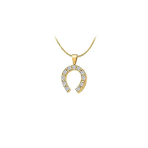 Amazing Jewelry Cubic Zirconia Horseshoe Pendant in Yellow Gold Vermeil with Free Chain ()