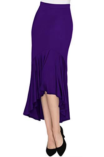 Made By Johnny WB1132 Womens Asymmetrical High Low Ruffle Hem Skirt M Dark_Purple