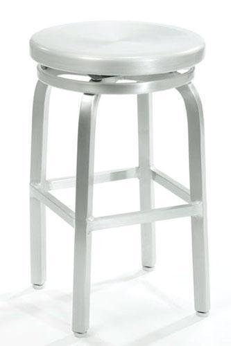Melanie Swivel Counter Stool, SWIVEL, BRUSHED ALUMINM (Barrel Aluminum And Stools Crate)