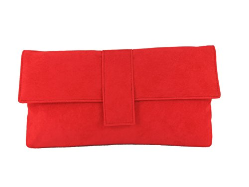 (Loni Womens Fab Large Faux Suede Clutch Bag/Shoulder Bag In Bright Red)