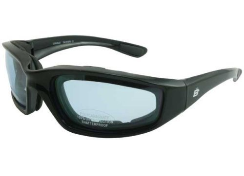 Birdz Oriole Motorcycle Cycling Airsoft Padded Glasses Light Blue Tint Lenses and Shiny Black Frame Has comfortable foam padding on the entire inside of the glasses to fit snug to your face and protect against wind and dust. Also has comfortable rubber ea