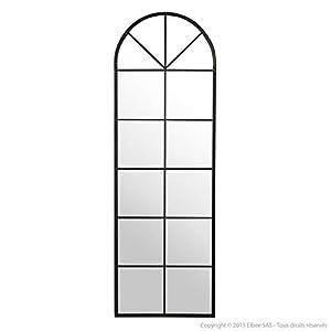 Delamaison Miroir Arcade Grand Format en métal Noir 55x165cm Perrine