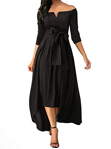 Women Sexy Off Shoulder Homecoming Cocktail Party Skater High Low Maxi Dress