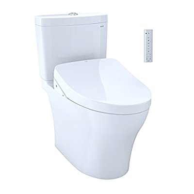 TOTO Kit Aquia IV Two-Piece Elongated Dual Flush 1.28 and 0.8 Gpf Toilet and Contemporary Washlet S550e Bidet Seat MW4463056CEMG#01, Cotton White