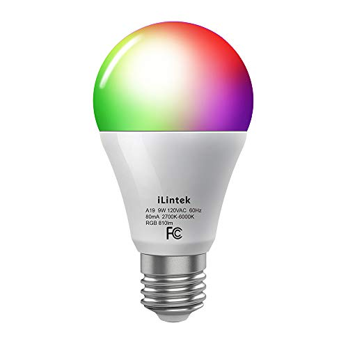 iLintek Smart LED Dimmable A19 Bulb with Bluetooth, 2700K-6000K CCT, 810lm, 9W and Voice Control by Alexa & Google Home