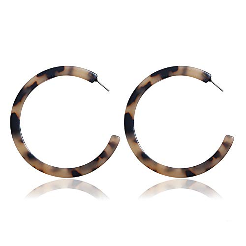 (RLD 4 Pairs Mottled Acrylic Hoop Earrings for Women Girls, Circle Hoop Stud Earrings Set Bohemian Statement Earrings Fashion Jewelry)