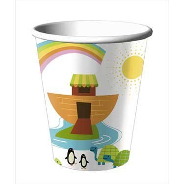 Whimsical Ark Baby Shower Cups - Boy or Girl Baby Shower 9 Oz Paper Cups - 8 Count