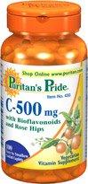 Fierté Vitamine C-500 de Mg de Puritan avec bioflavonoïdes et églantier 100 Comprimés enrobés 1 bouteille