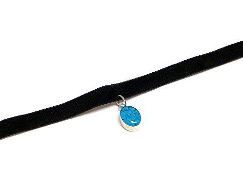 - Crushed Chip Stone Inlay Oval Shape Dangle Black Velvet Ribbon Choker Necklace (Turquoise)
