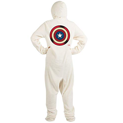 CafePress Captain America Comic Shield Novelty Footed Pajamas, Funny Adult One-Piece PJ Sleepwear Creme
