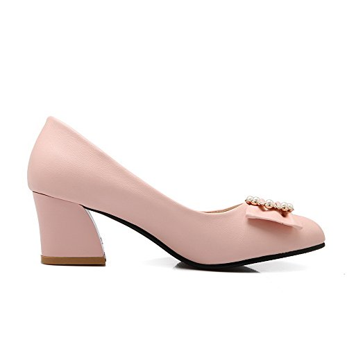 On Pull Kitten Pumps Closed Solid Heels Womens Shoes Toe Pointed Pink Pu AmoonyFashion 5Eqxw1ZC