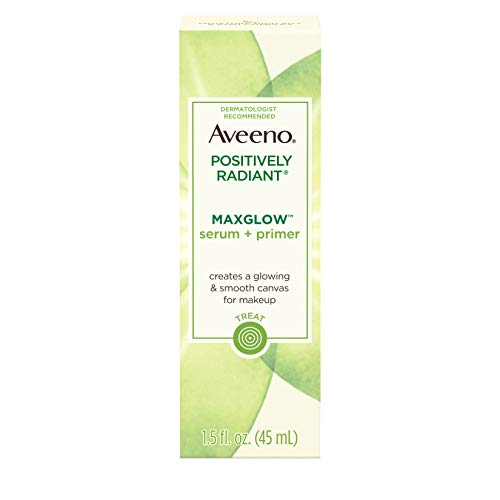 (Aveeno Positively Radiant MaxGlow Hydrating Face Serum + Primer with Moisture Rich Soy & Kiwi Complex, Hypoallergenic, Non-Comedogenic, Paraben- & Phthalate-Free, 1.5 fl. oz)