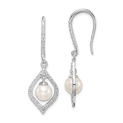 Diamond Pearl Chandelier Earrings - 925 Sterling Silver Diamond Freshwater Cultured Pearl Drop Dangle Chandelier Earrings Fine Jewelry For Women Gift Set