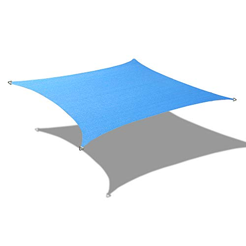 Alion Home Custom Sizes Rectangle PU Waterproof Woven Sun Shade Sail with Stainless Steel Hardware Kits 14 x 18 , Sky Blue