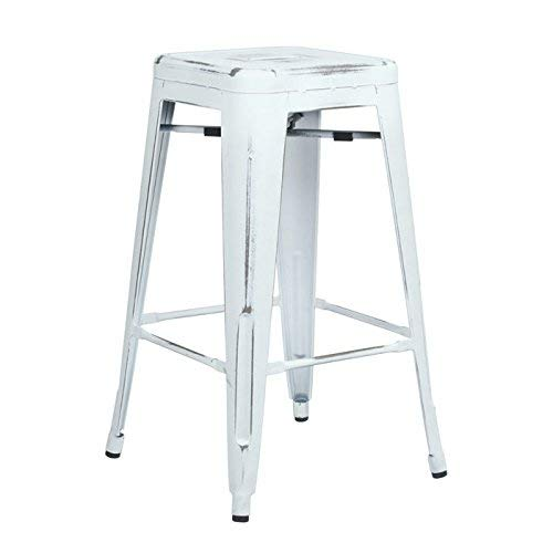 Metal Antique Bar Stools - Office Star Bristow Antique Metal Barstool, 26-Inch, Antique White, 4-Pack
