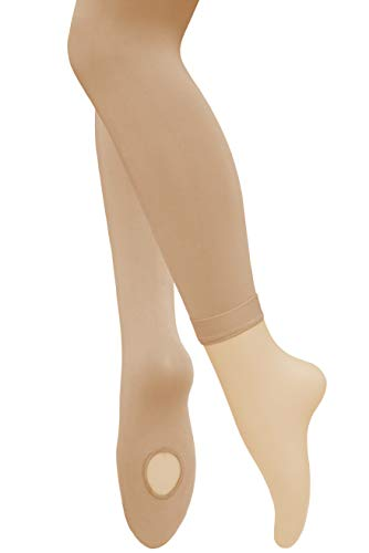 Dancina Girls Dance Tights Cute Skin Color Extra Hold Soft Nylon and Spandex Hose M (6-8) Suntan -