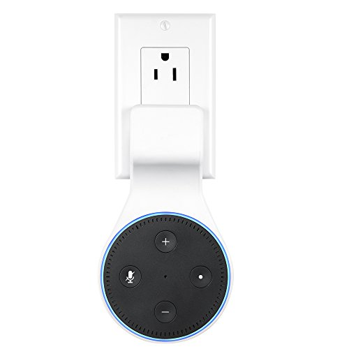 SKYREAT Echo Dot Outlet Wall Mount Holder with Short Charger Cable ,No Cord Mess Echo Dot Accessories Mount Hanger Stand for Alexa Echo Dot 2nd Generation Puls in Bedroom, Bathroom, Kitchen