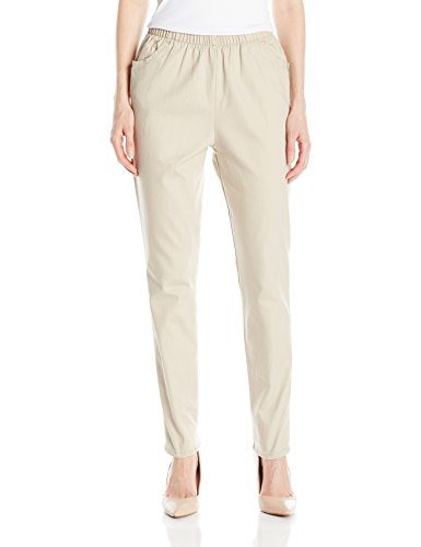 Chic Classic Collection Women's Stretch Elastic Waist Pull-on Pant, Khaki Slub Twill, 18A
