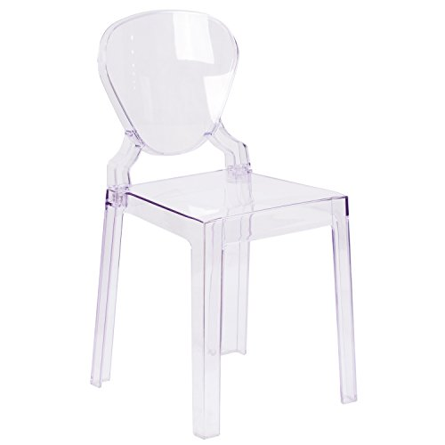 Flash Furniture Ghost Chair with Tear Back in Transparent Crystal ()