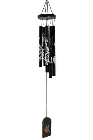 Bells of Paradise Wind Chime Black Metal Ebony with Dragon Deep Sound Tone Tubular Windchime - 24' Long 11843