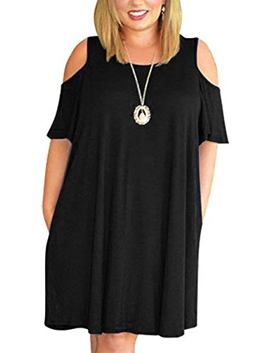 Kancystore Women's Cold Shoulder Plus Size Casual T-Shirt Swing Dress with Pockets Black ()