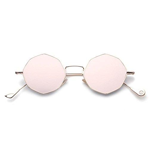 Z&YQ Lunettes de soleil géométrie symétrique octogonale vacances sauvages lunettes de soleil hommes et femmes , silver frame green slice