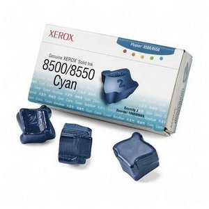 Xerox Lsr Printer Solid Ink Phaser 8500 8550 Cyan 3 Sticks 3000 Page Yield 8550 Cyan Solid Ink