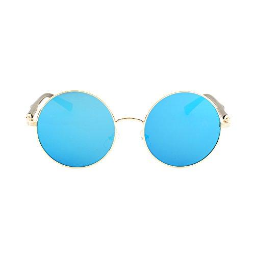 Lentille Étui UV400 avec QIXU Métallique Lunettes Homme de Ronde Rétro Femme Cadre Soleil Bleu Miroir Lunettes Vintage qw06XPYq
