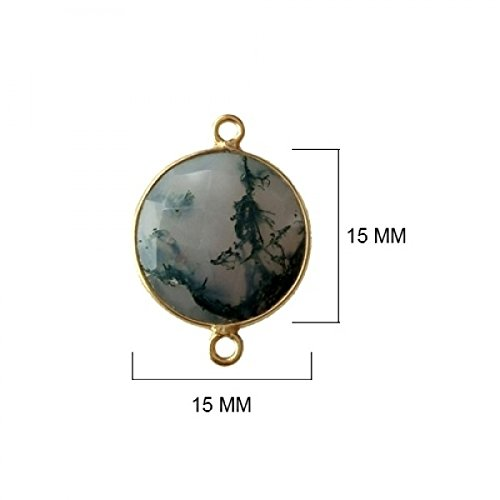 (2 Pcs Natural Moss Agate Coin Beads 15mm 24K Gold Vermeil by BESTINBEADS, Natural Moss Agate Coin Pendant Bezel Gemstone Connectors Over 925 Sterling Silver Bezel Jewelry Making Supplies)