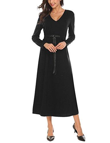 SE MIU Women V Neck Long Sleeve Fit and Flare Casual Long Loose Dress, Black, - Shoes Miu Miu Black