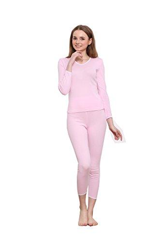 Pink Thermal Pajamas - Godsen Women's Thin Thermal Underwear Set Tops & Bottoms (XS, Pink)