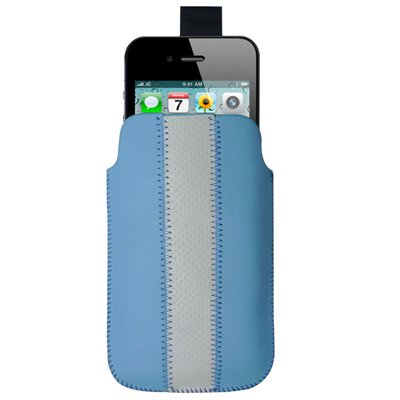 "Original THESMARTGUARD iPhone 4S / 4 Tasche im ""One-Stripe-Style"" - blau"