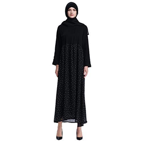 HYIRI Women's Muslim Splice Polka Dot lace Dress Islam Jilbab Dress Black