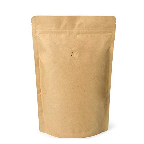 500g 16oz 1lb Kraft Paper Stand up Zipper Pouches Coffee Bags Coffee Pouches with Valve (Pack of 50)