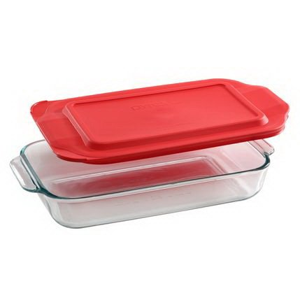 Pyrex Basics 2-qt Oblong with red cover by Pyrex