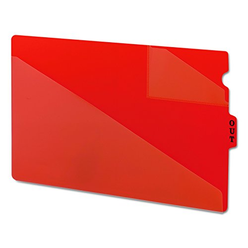 (Smead End Tab Poly Out Guide, Two-Pocket Style, Center Position Tab, Legal Size, Red, 50 per Box)