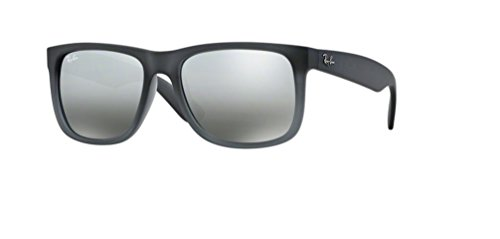 (Ray-Ban RB4165 JUSTIN 852/88 55M Rubber Grey/Grey Transp./Grey Silver Mirror Gradient Sunglasses For Men For Women)