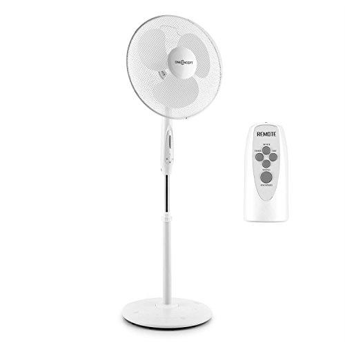 oneConcept White Blizzard RC 2G Standventilator groß Ventilator mit Fernbedienung und Timer (leise 50W, 41 cm großes Rotor-Blatt, Oszillation Schwenk-Funktion, neigbar, höhenverstellbar, 3 Geschwindigkeiten) weiß