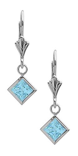 Amazon #DealOfTheDay: Girls 1.50 Carat Square Blue Topaz Leverback Earrings