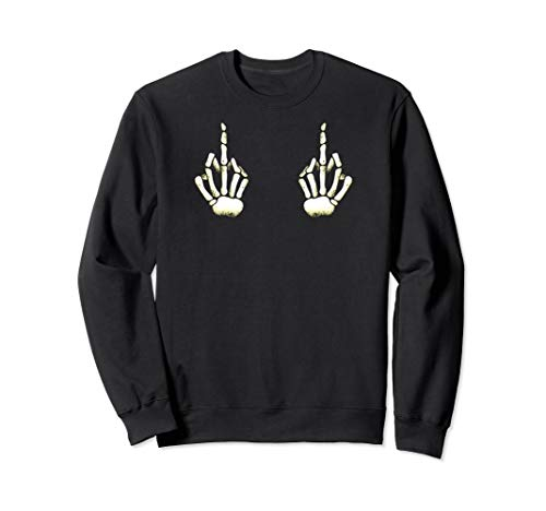Skeleton Middle Finger on Boobs Sweatshirt Halloween