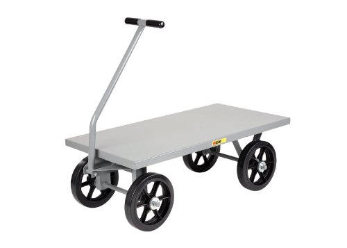 "Little Giant CH-2448-12MR-FSD Steel Heavy-Duty Flush Deck Wagon Truck with 12"" Mold-On Rubber Wheels, 3500 lbs Capacity, 48"" Length x 24"" Width x 16-1/2"" Height"