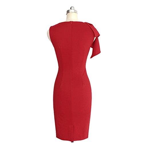 ... Cocktailkleid Damen Große Größen Elegant Sommerkleider Ärmellos Crew  Fashion Festlich Kleidung Neck Knielang Kleid Uni- ... bf04f9a153